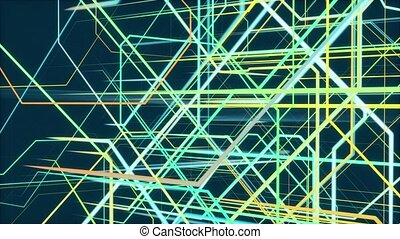 Background of colorful moving lines on blue