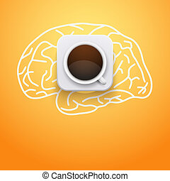Background of cup coffee and brain. Vector Illustration.