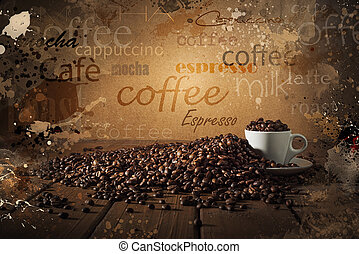Background of cup of coffee beans on wooden boards