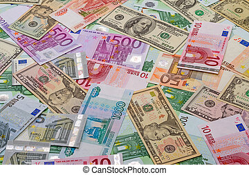 Background of paper money - dollars, euros and rubles