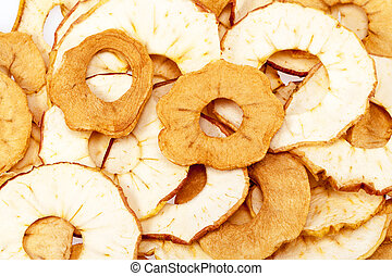 background of dried apple slices, close up.