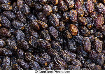 Background of dried dates close-up on a market in Istanbul.