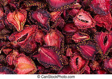 Background of dried strawberries. Dried fruits. Top view.