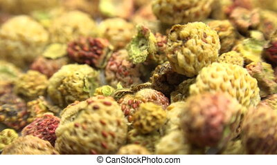 Background  of dried strawberry. Motorized Dolly Shot. Macro