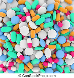 background of drugs - background of a pile of colored drugs