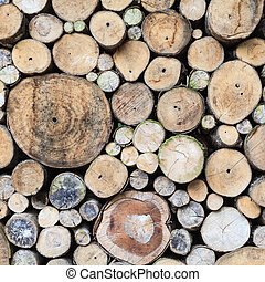 Background of dry logs stacked up on top of each other