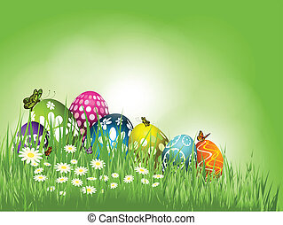Background of Easter eggs in grass with butterflies