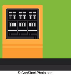 Background of electric switchboard vector flat design illustration. Square layout.