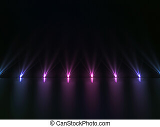 Background of empty dark podium with pink and purple lights