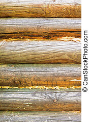 Background of exterior log wall