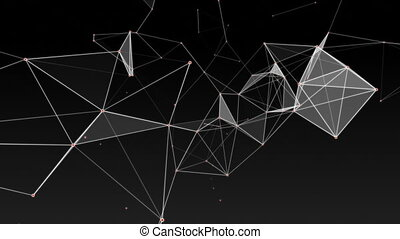 Background of fantasy black and white plexus. Abstract technology futuristic network.