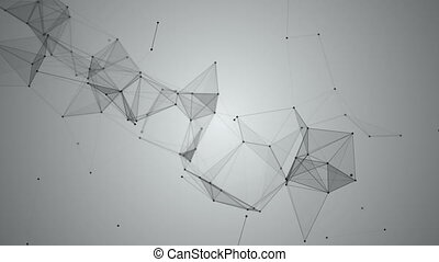 Background of fantasy black and white plexus. Abstract technology futuristic network. Loop Animation