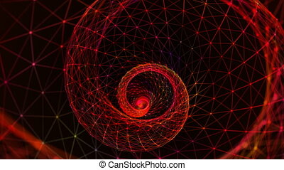Background of fantasy red plexus. Abstract technology futuristic network