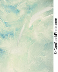 Background of fluffy cloud-like feathers on a blue sky