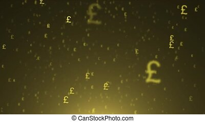 Background of flying currency. Pound sterling