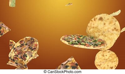 Background of flying pizza slices
