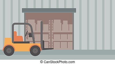 Background of forklift truck and cardboard boxes in...