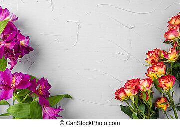 Background of fresh flowers with copy space
