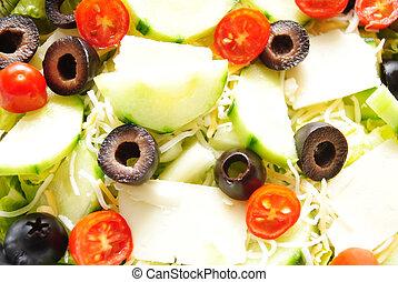 Background of Fresh Organic Salad Ingredients