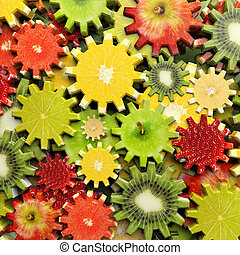 Background of gears made with fruit slices