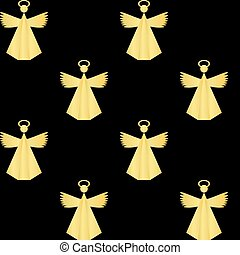 background of golden angel christmas pattern on black