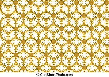 background of golden christmas snowflake on white
