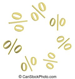 Background of golden percent. Design template