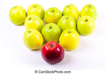 Background of green apples with one red apple. Concept