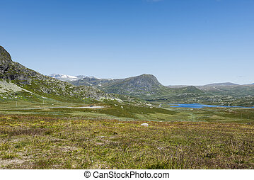 mountains in norway with blue sky background