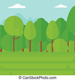 Background of green lawn with trees.