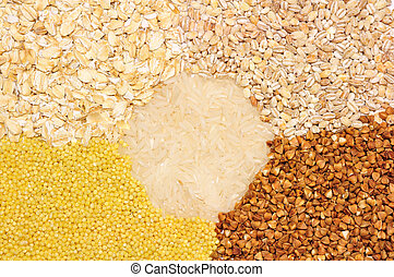 background of different kinds of organic groats