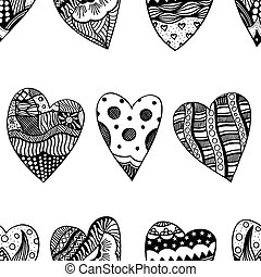 Background Of Hand Drawn Hearts Ornamental Heart With Love In Doodle Zentangle