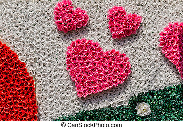 Background of heart-shaped with ribbon.
