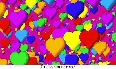 Background of hearts beating floating upwards with rainbow colors on violet background. 3D animation