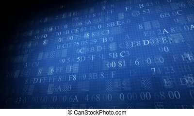 Background of hexadecimal code. Background of blue color.