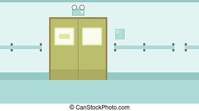 Background of hospital corridor with closed doors. -...