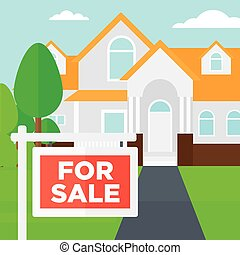 Background of house with for sale sign.