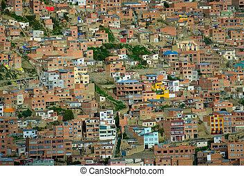 Background of houses, La Paz, Bolivia