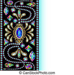 background of jewelry and precious stones with space for...