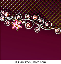 background of jewelry and precious stones with flower -...