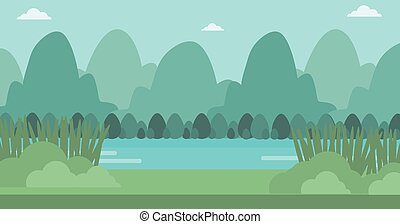 Background of landscape with mountains and river.