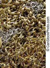 background of many chains in gold and silver