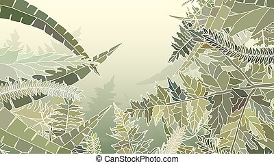 Horizontal vector illustration of many different yellow, green herbs and grass.