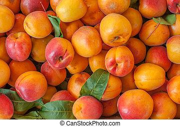 Background of many orange peaches on market stall