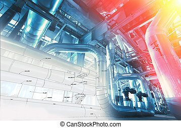 Background of mechanical engineering drawings, industry, education