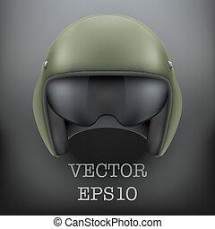 Background of Military flight helicopter helmet. Vector.