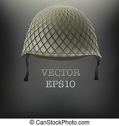 Background of Military green helmet. Space for text. Vector illustration. Metal army symbol of defense and protection. Isolated on white background. Editable.
