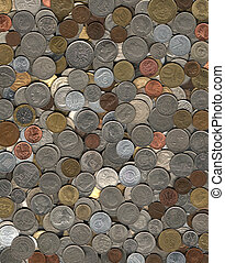background of coins from various countries