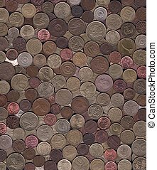 background of miscellaneous copper coins