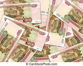 Background of money pile 100 russian rouble bills